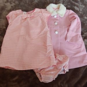 Baby Holiday Editions pink dress & coat 24M